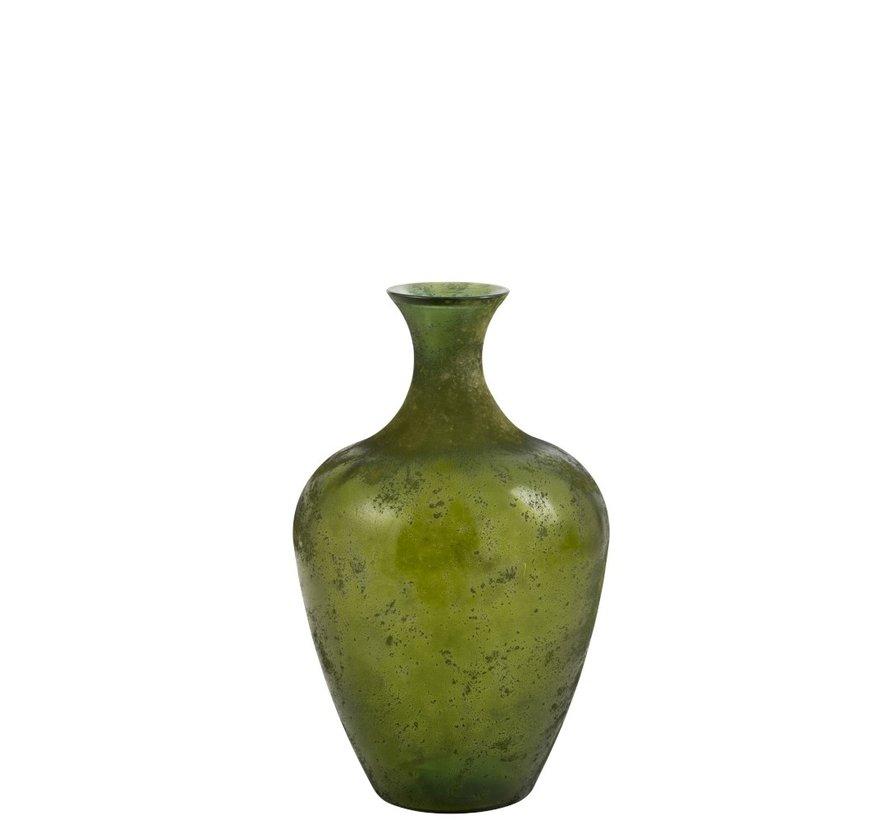 Bottle Vase Glass Elegant Matt Green - Small