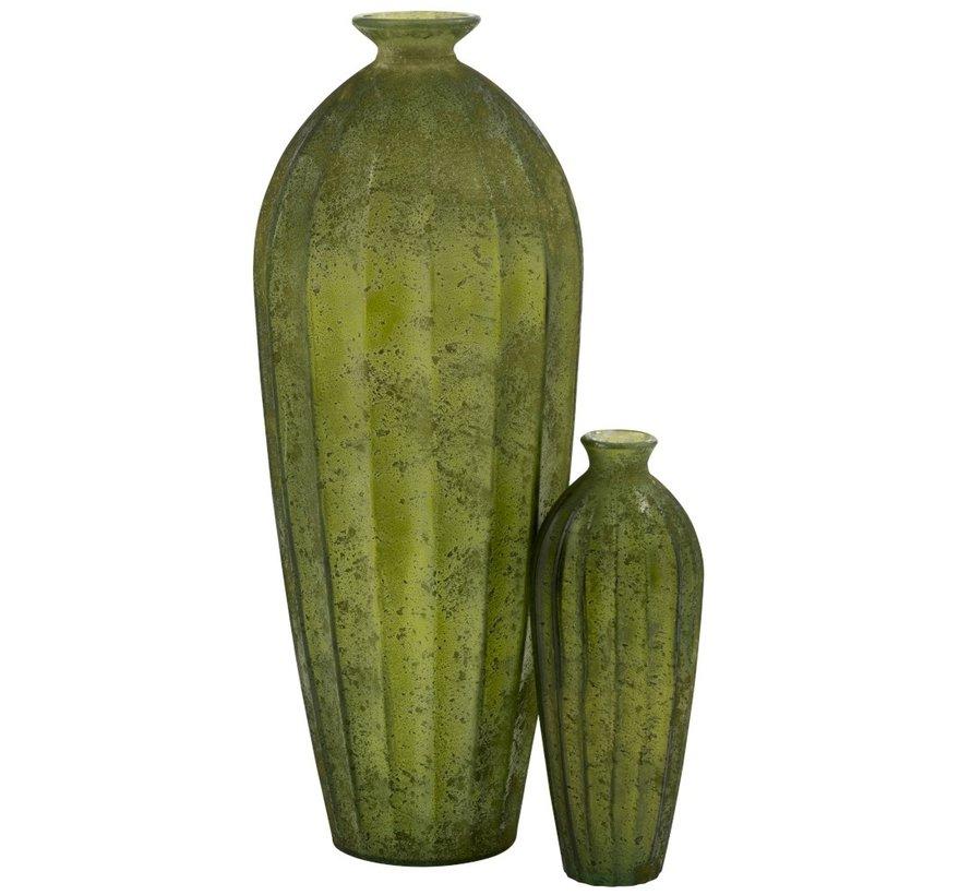 Flessen Vaas Glas Hoog Klassiek Mat Groen - Large