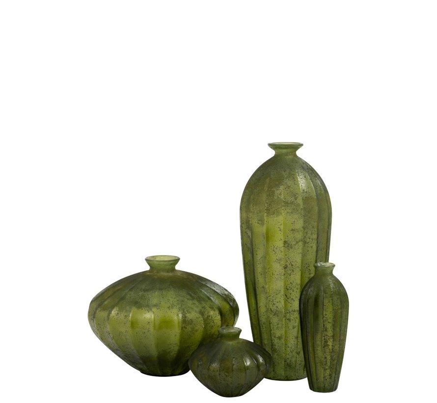 Bottle Vase Glass High Classic Matt Green - Large