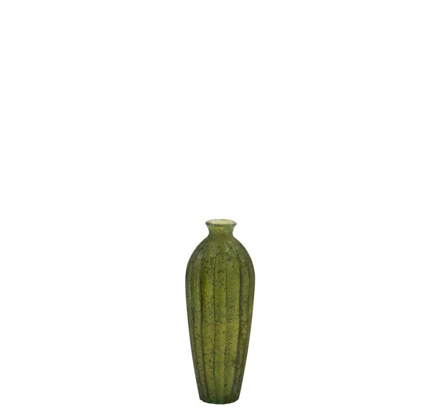 Bottle Vase Glass High Classic Matt Green - Small