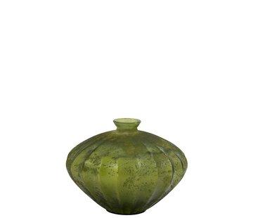 J -Line Flessen Vaas Glas Laag Klassiek Mat Groen - Large