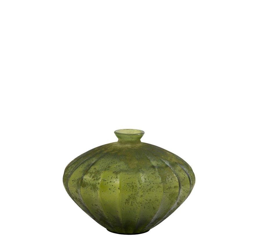 Bottle Vase Glass Low Classic Matt Green - Large