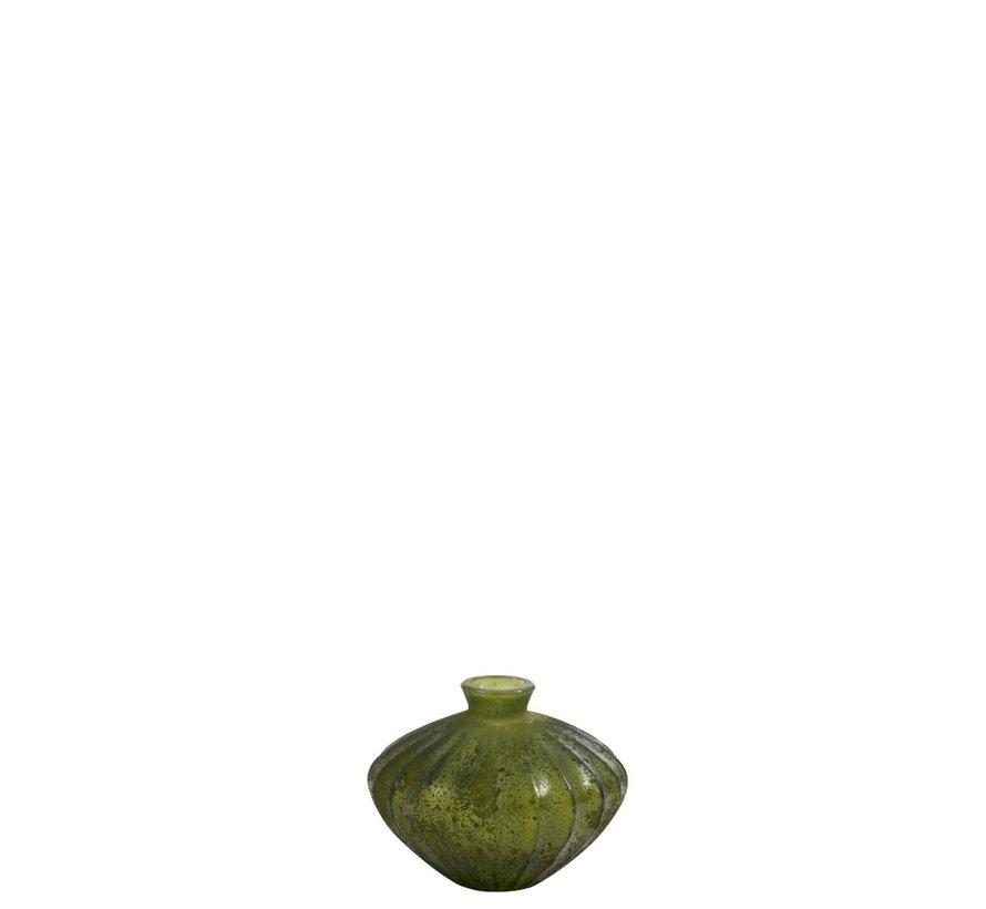 Bottle Vase Glass Low Classic Matt Green - Small