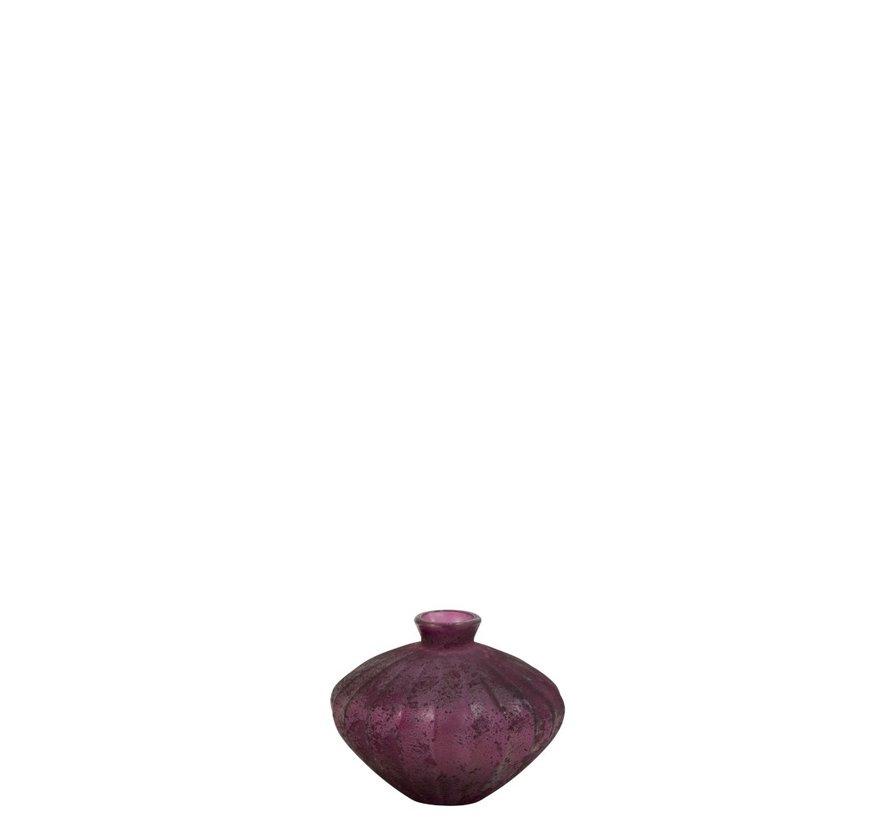 Bottle Vase Glass Low Classic Bordeaux - Small