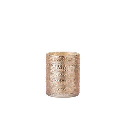 J -Line Theelichthouder Glas Cilinder Relief Bolletjes Roze - Large