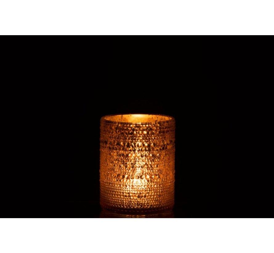 Theelichthouder Glas Cilinder Relief Bolletjes Roze - Large