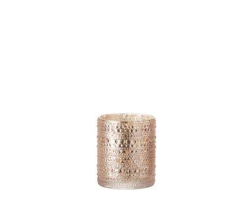 J -Line Theelichthouder Glas Cilinder Relief Bolletjes Roze - Medium