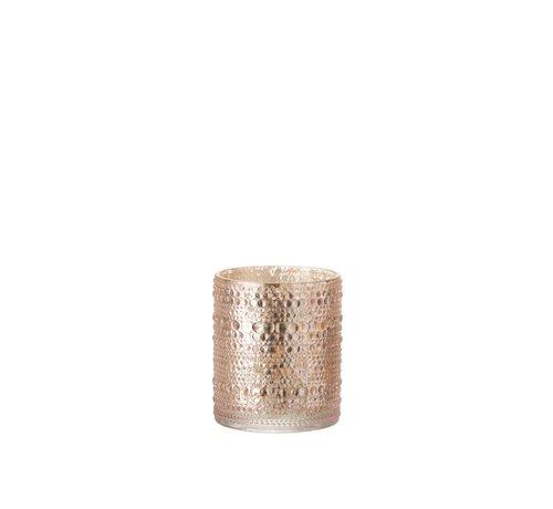 J -Line Tea Light Holder Glass Cylinder Relief Balls Pink - Medium