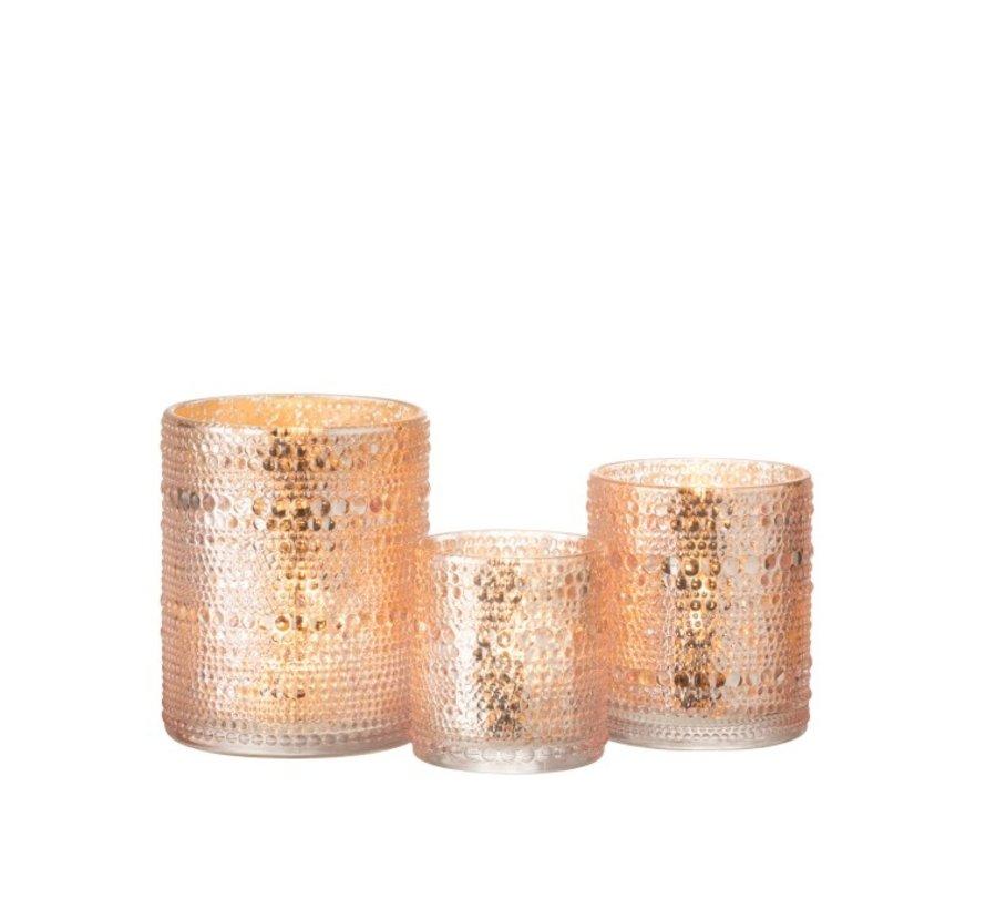 Tea Light Holder Glass Cylinder Relief Balls Pink - Medium