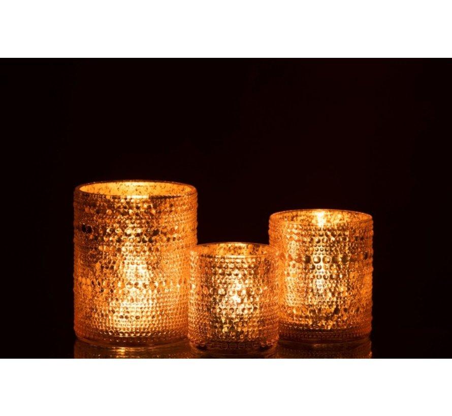 Theelichthouder Glas Cilinder Relief Bolletjes Roze - Medium