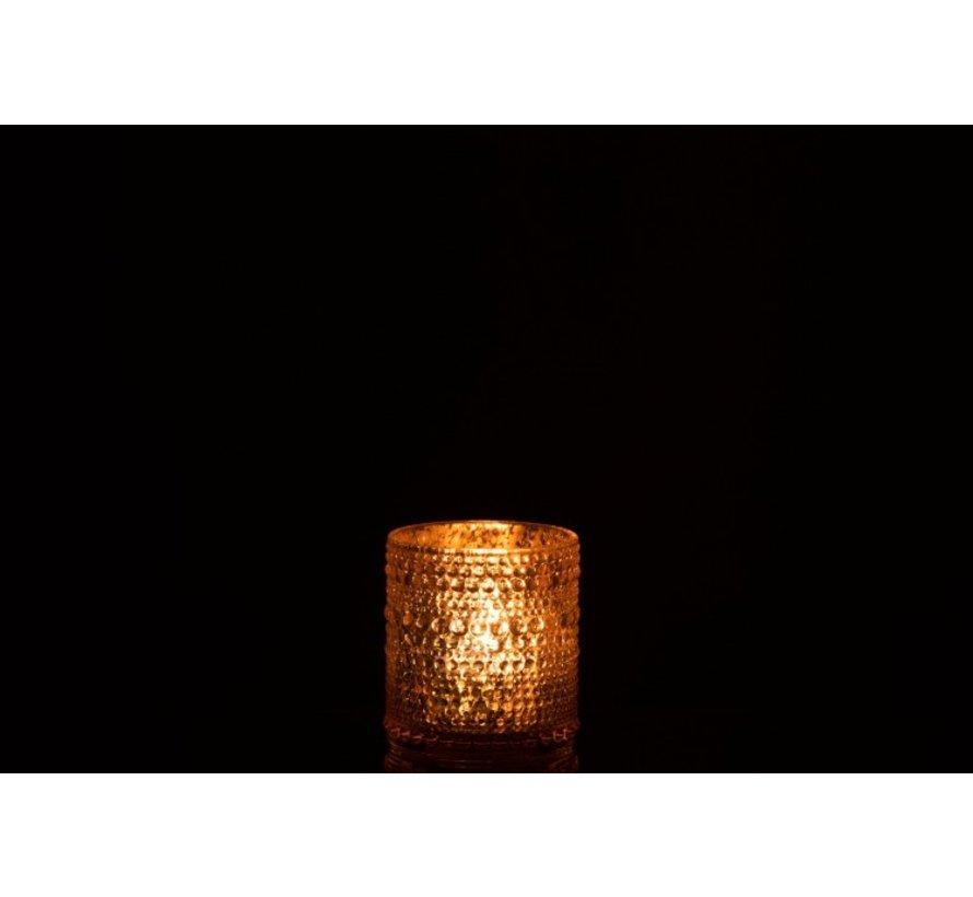 Theelichthouder Glas Cilinder Relief Bolletjes Roze - Small