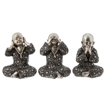J -Line Decoration Monks Hear See Silence Silver Gray - Large