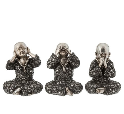 J-Line Decoration Monks Hear See Silence Silver Gray - Large