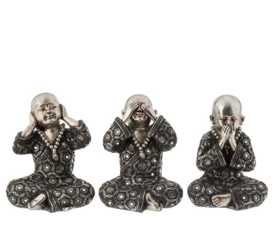 Decoratie Monniken Horen Zien Zwijgen Zilver Grijs - Large