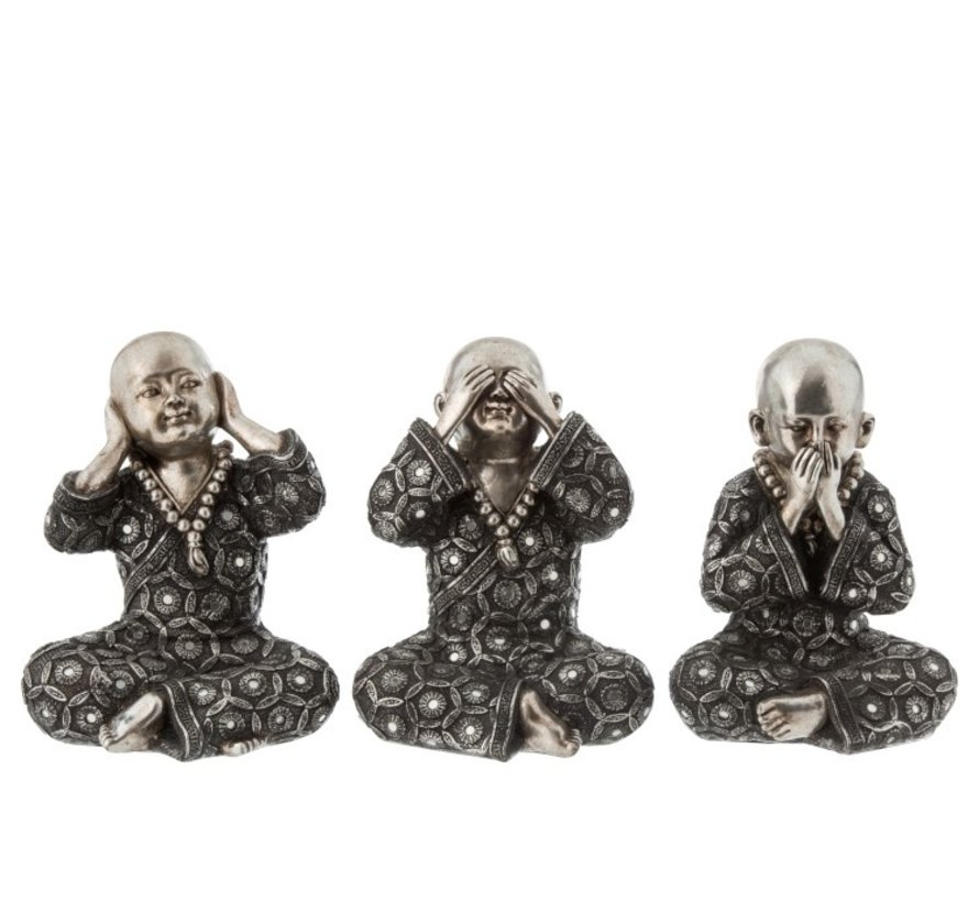 Decoration Monks Hear See Silence Silver Gray - Large