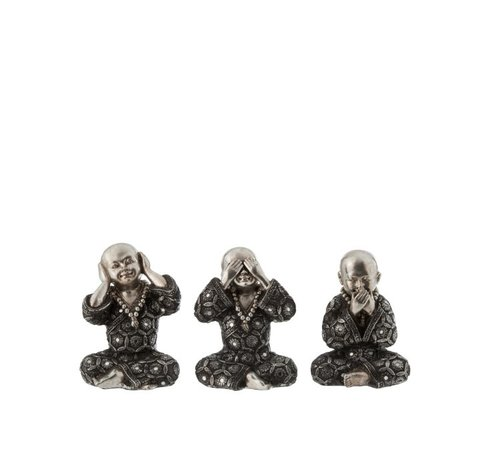 J -Line Decoration Monks Hear See Silence Silver Gray - Small