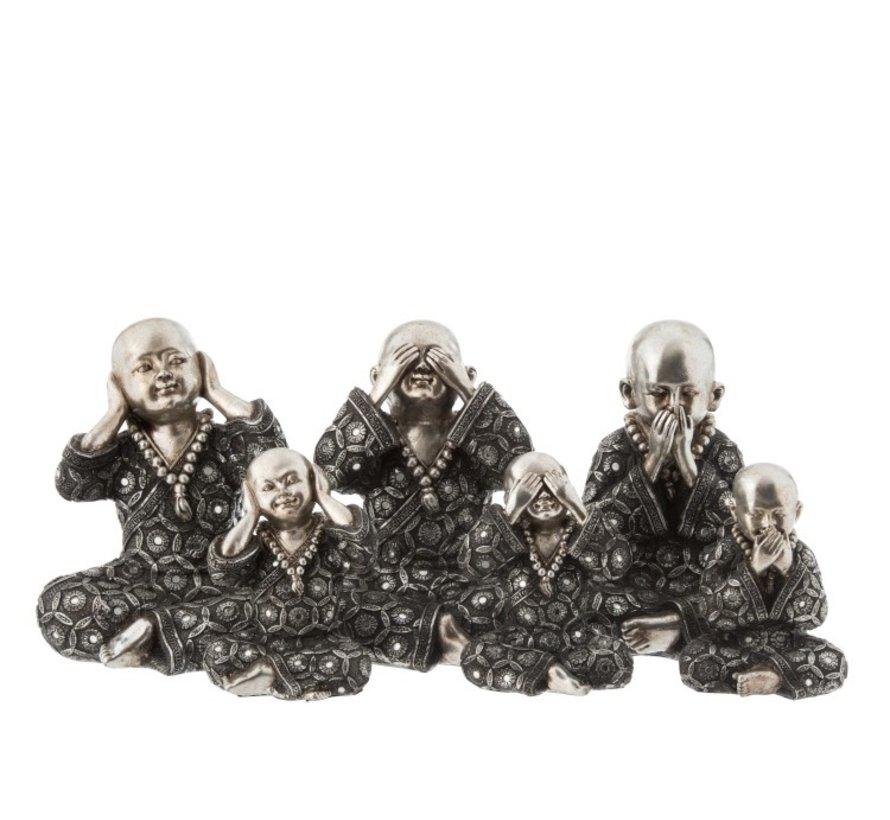 Decoratie Monniken Horen Zien Zwijgen Zilver Grijs - Small