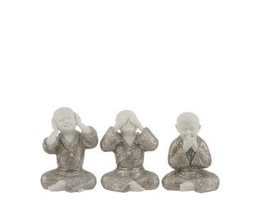 J-Line Decoration Monks Hear See Silence Silver White - Small