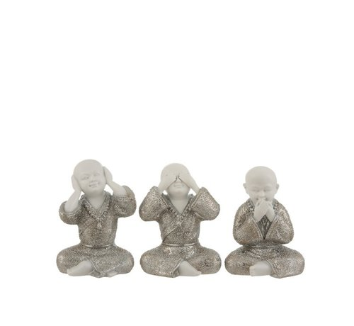 J -Line Decoration Monks Hear See Silence Silver White - Small