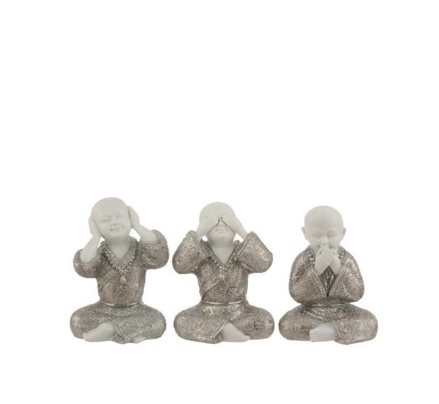 Decoration Monks Hear See Silence Silver White - Small