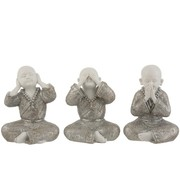 J-Line Decoration Monks Hear See Silence Silver White - Large