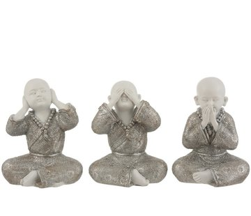 J -Line Decoration Monks Hear See Silence Silver White - Large