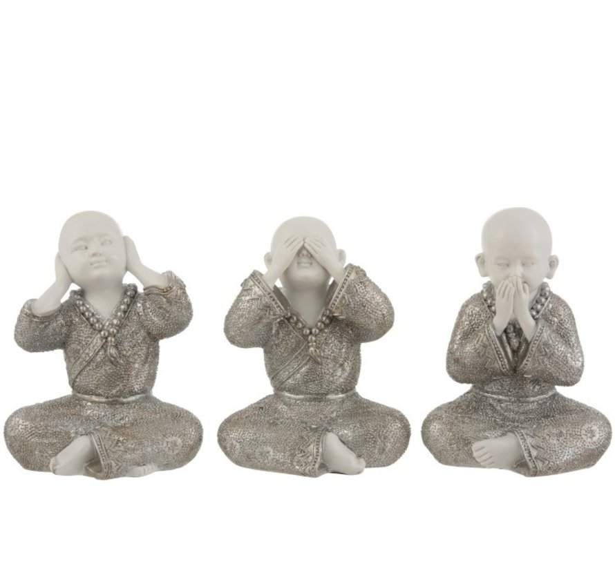 Decoration Monks Hear See Silence Silver White - Large