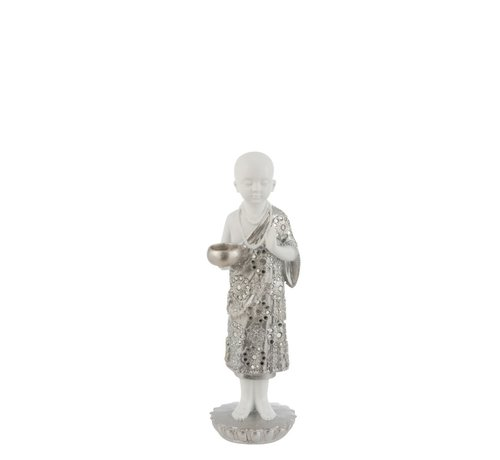 J -Line Tealight Holder Monk Poly Silver White - Small