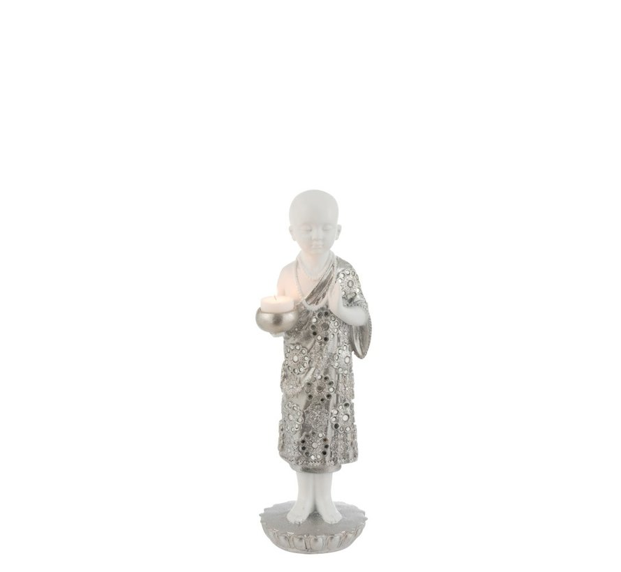 Tealight Holder Monk Poly Silver White - Small