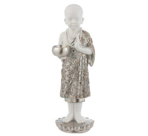 J -Line Tealight Holder Monk Poly Silver White - Large