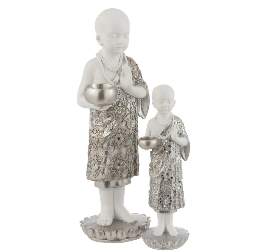 Tealight Holder Monk Poly Silver White - Large