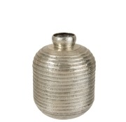 J -Line Bottle Vase Modern Aluminum Relief Gray - Large