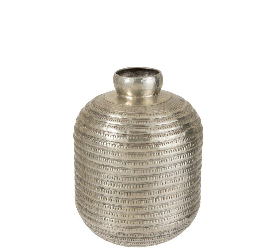 Flessen Vaas Moderne Aluminium Relief Grijs - Large