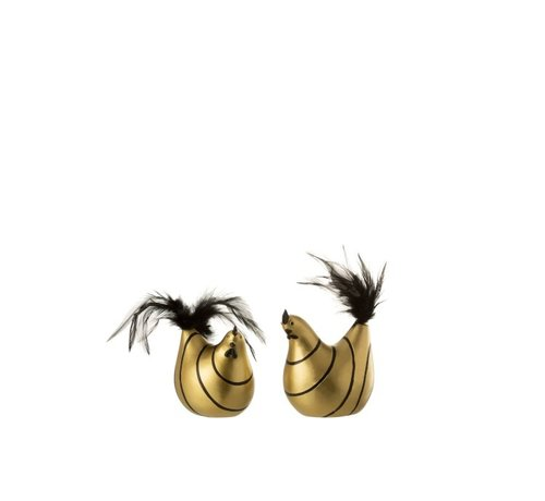 J -Line Decoratie Kip Strepen Poly Pluimen Goud Zwart - Small