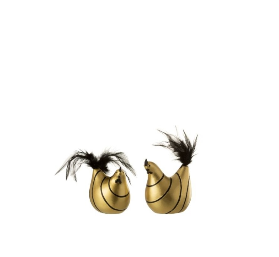 Decoration Chicken Stripes Poly Plumes Gold Black - Small
