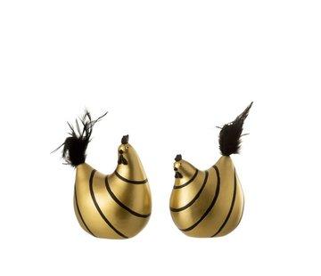 J-Line  Decoratie Kip Strepen Poly Pluimen Goud Zwart - Medium