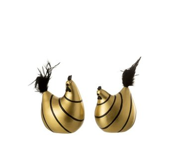 J -Line Decoration Chicken Stripes Poly Plumes Gold Black - Medium
