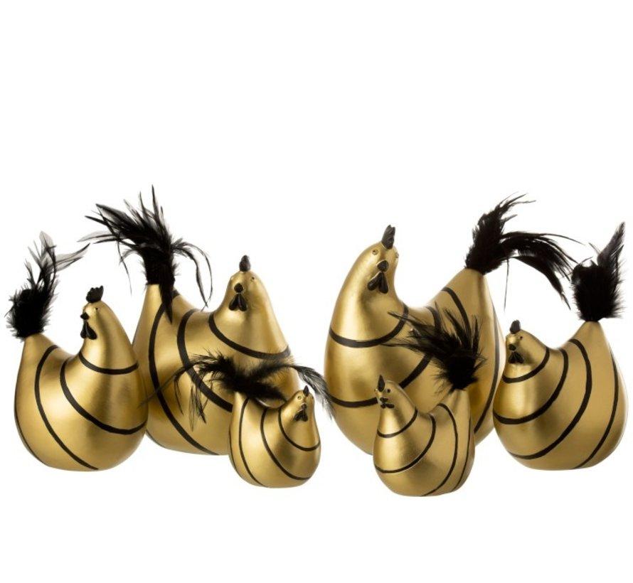 Decoratie Kip Strepen Poly Pluimen Goud Zwart - Medium