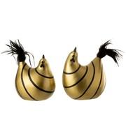 J-Line  Decoratie Kip Strepen Poly Pluimen Goud Zwart - Large