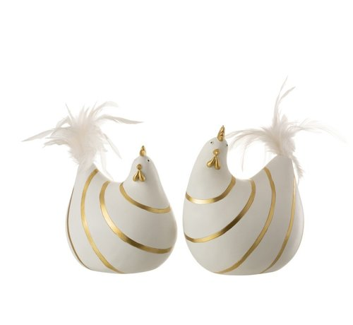 J -Line Decoration Chicken Stripes Poly Plumes Gold White - Large