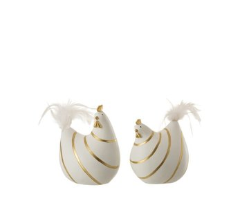 J -Line Decoration Chicken Stripes Poly Plumes Gold White - Medium