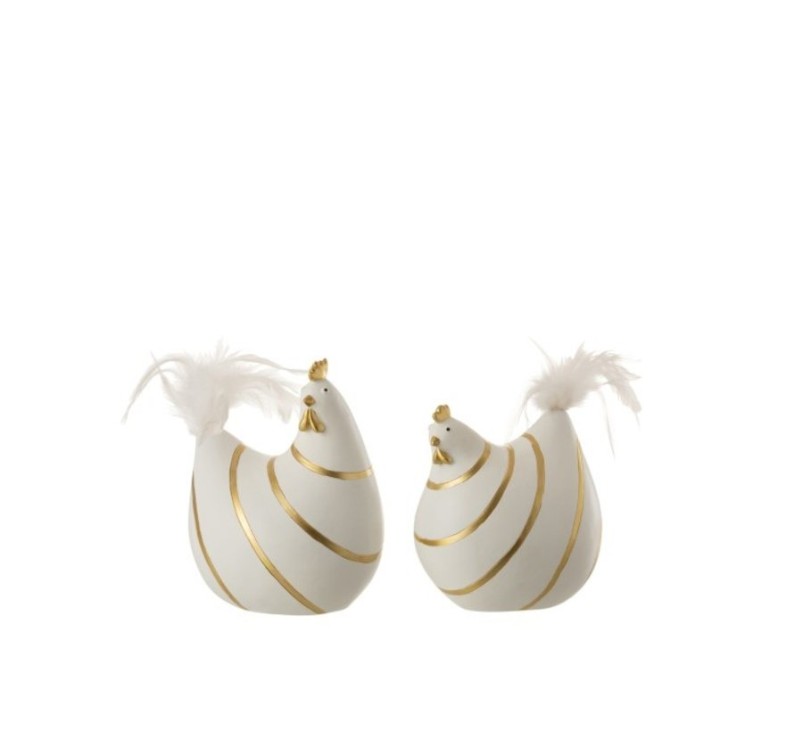 Decoration Chicken Stripes Poly Plumes Gold White - Medium