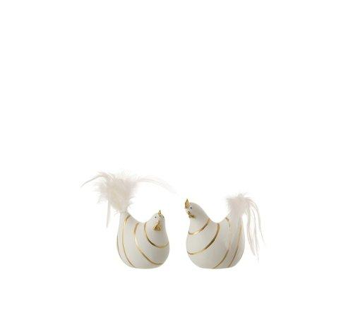 J -Line Decoratie Kip Strepen Poly Pluimen Goud Wit - Small