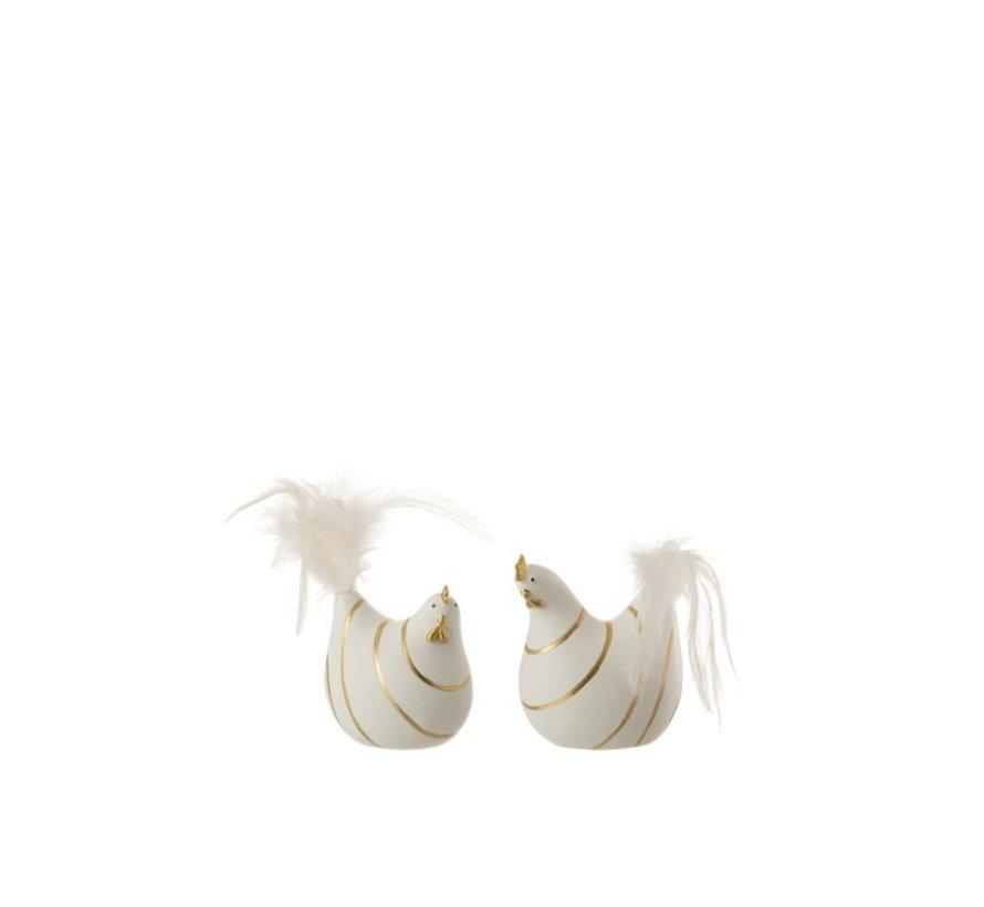 Decoratie Kip Strepen Poly Pluimen Goud Wit - Small