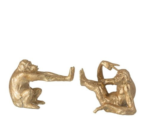 J -Line Decorative Bookends Two Cozy Monkeys Poly - Gold