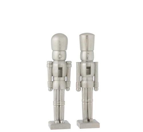 J -Line Decoratie Figuur Twee Soldaten Poly Zilver - Medium