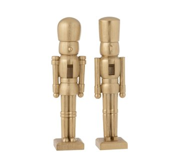 J -Line Decoration Figure Two Soldiers Poly Champagne - Large