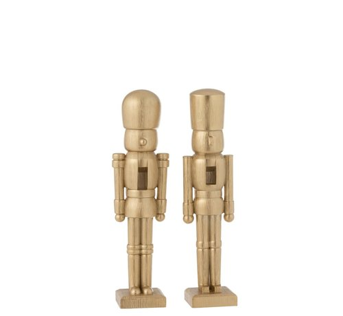 J -Line Decoration Figure Two Soldiers Poly Champagne - Medium