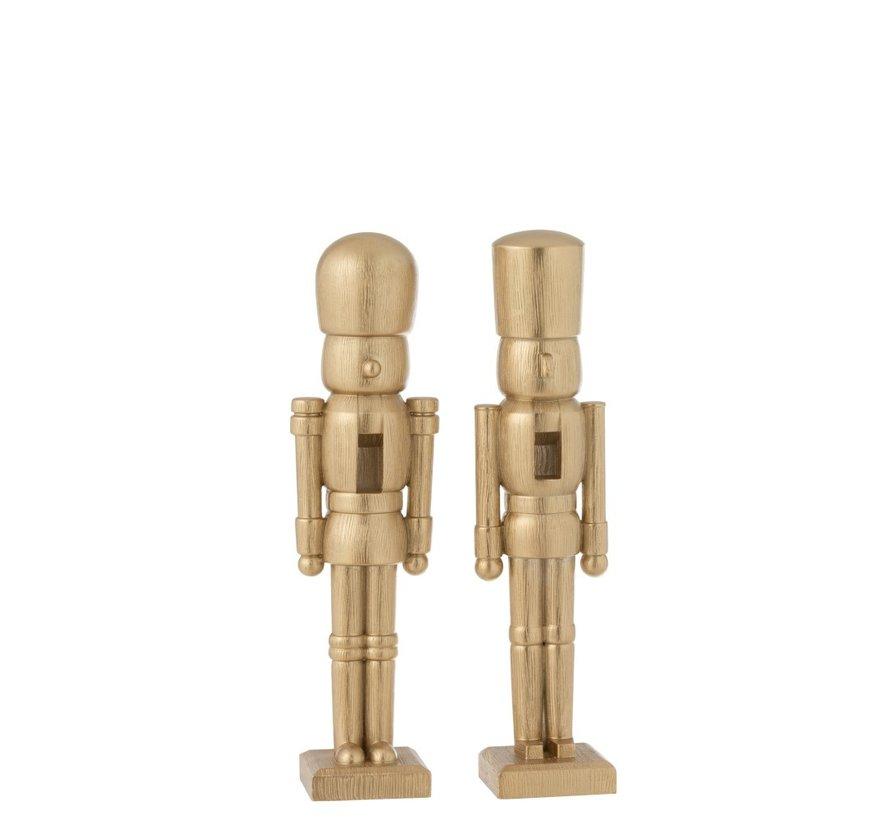 Decoratie Figuur Twee Soldaten Poly Champagne - Medium
