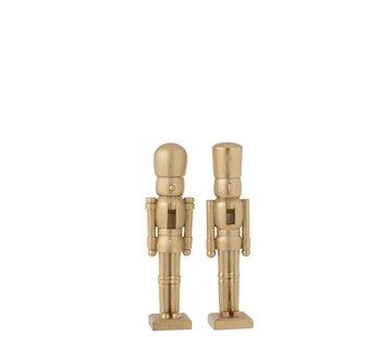 J -Line Decoratie Figuur Twee Soldaten Poly Champagne - Small
